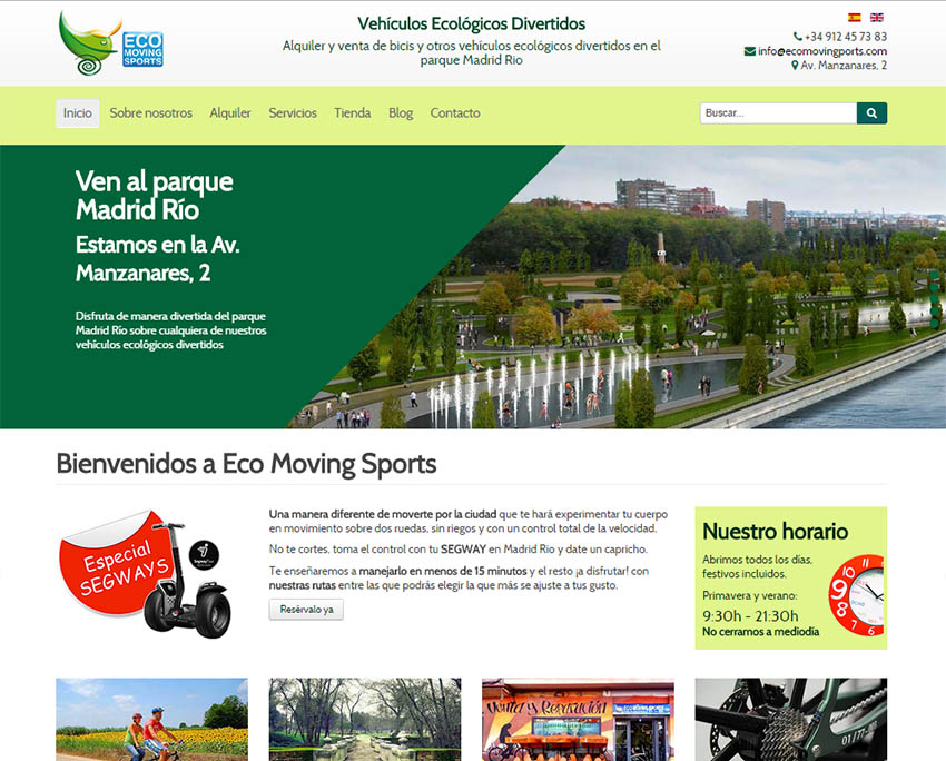 Página web anterior de Eco Moving Sports